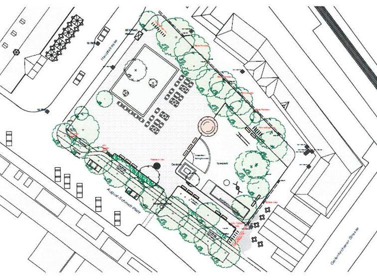 Grafik August-Schmidt-Platz Ausschnitt Plan Verwaltungsvorlage Bau- und Verkehrsausschuss 07/2019